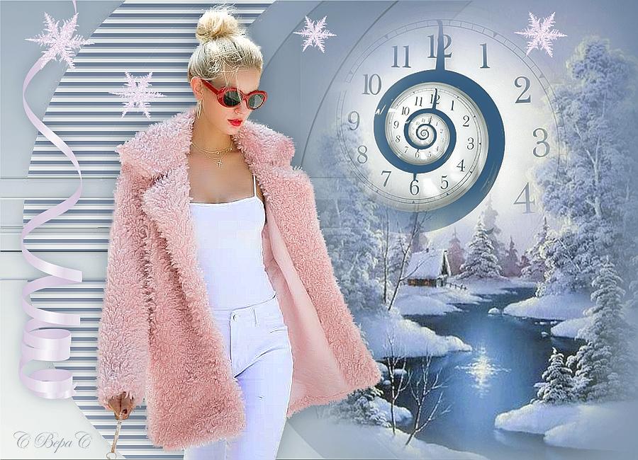 часы зима новогоднее