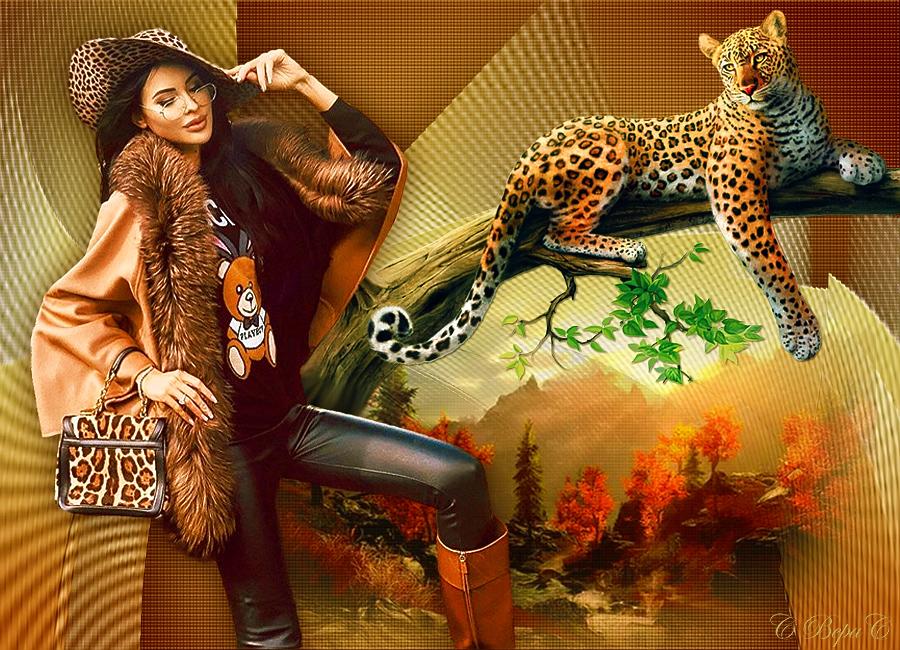девушка шляпа леопард