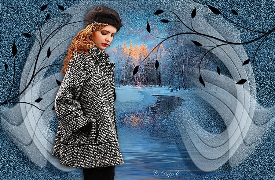 коллаж девушка в сереньком пальто