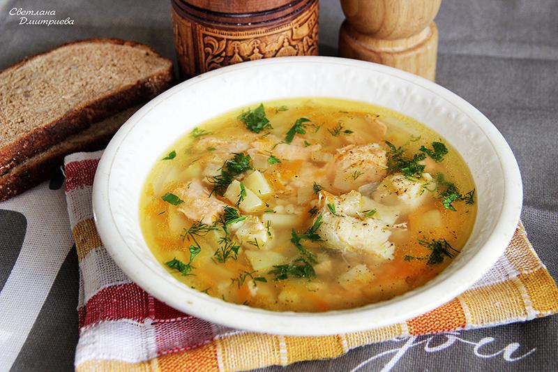 Суп с красно белой рыбой