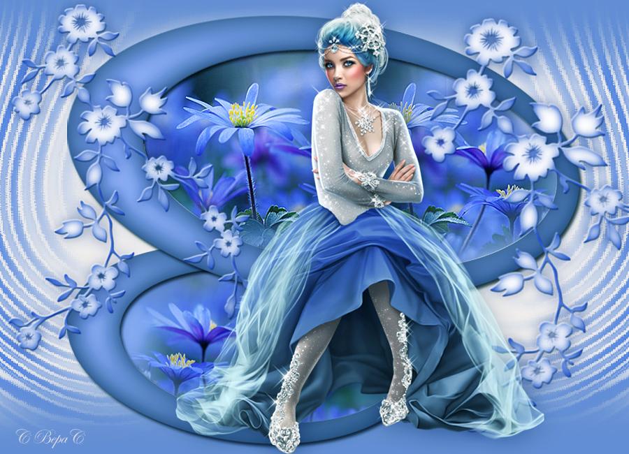 голубые цветы коллаж