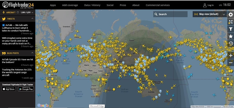 Воздушная обстановка во время пандемии